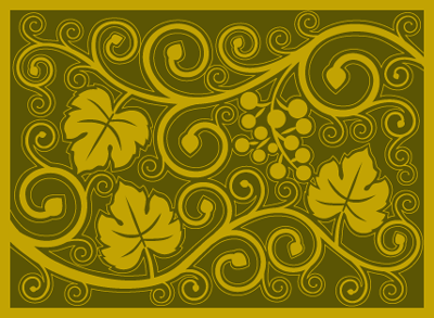 curly vine olive mustard wine country mat
