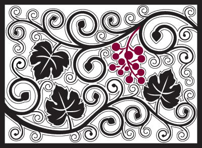 curly vine red wine country mat